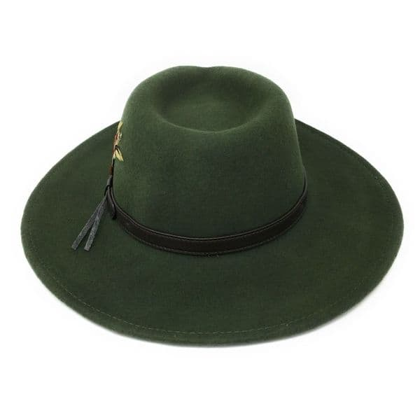 Fedora Cowboy Hat Crushable Safari with Removable Feather - Olive